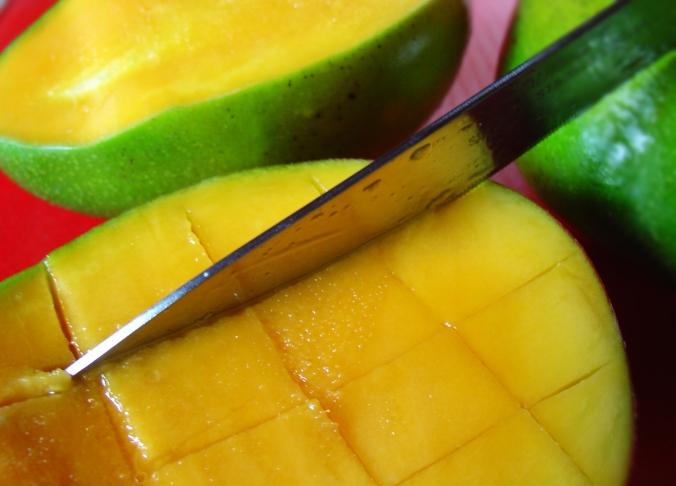 Cut the fruit in criss cross in the peel