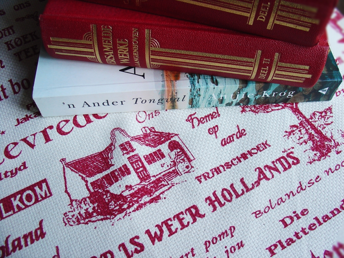 Afrikaans literature on an Afrikaans print cloth.