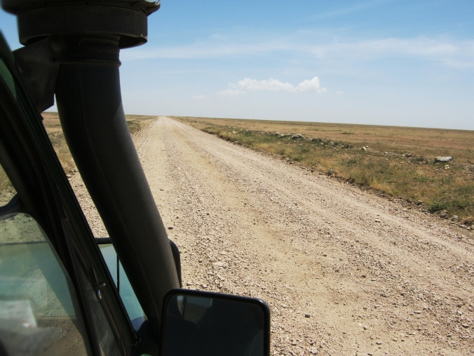 The dirt road stretching endlessly ahead