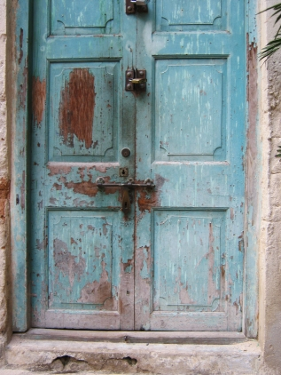 Worn blue door