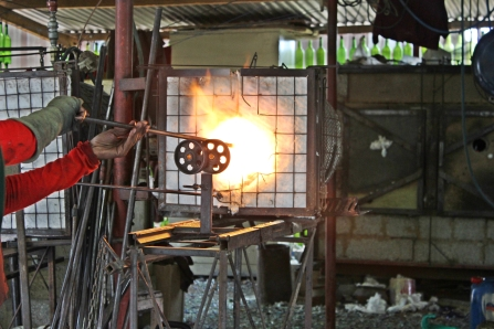 Recycled glass being melted